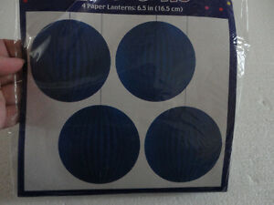Brand new pack of 4 blue paper lanterns hanging decor London Ontario image 2