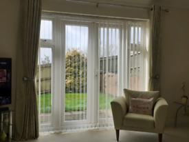 Next Leaf print curtains & 4 cushions