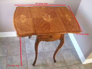Small Antique  Drop-Leaf Table  (inlaid wood)