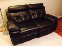 Leather Wall Hugger Recliner Loveseat