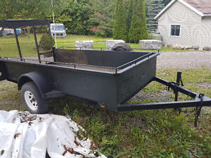 5X10 Utility Trailer with ramp, sides and spare tire