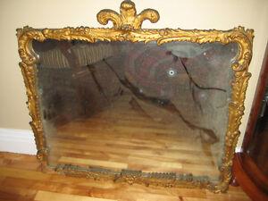 miroir antique avec plumes de ''prince de galles''