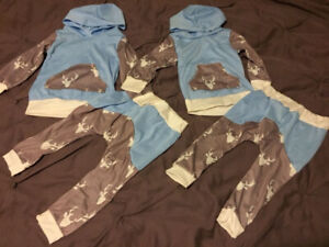 new twins matching deer outfit just in time for spring