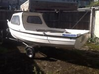 Orkney Spinner 13ft Fishing Boat with 6 hp Suzuki outboard and trailer