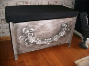 Storage Box with Padded Lid/Seat - Modern Farmhouse style