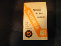 1973 - 1974 NHL schedule and 72 - 73 final statistics booklet