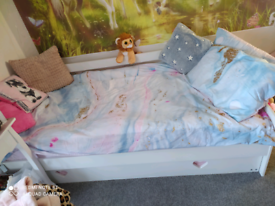 Girls white bed and trundle