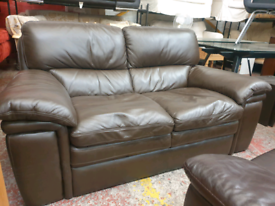 Brown leather sofa , delivery available