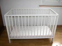 White Ikea Gulliver Cot bed for newborn till 3 yrs and Mattress - can deliver