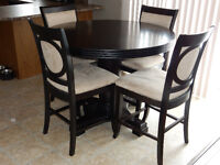 Dining table+leaf, 4 chairs AND Server