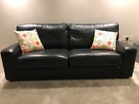 Marks and Spencer Black Leather Settee