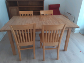 Ikea solid beech extendable table with 4 solid rubber wood chairs