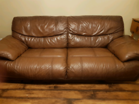 Brown Leather Sofa with Matching Chair