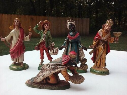 Vtg Christmas Nativity Figures Set Of 5 Creche Holiday Decor Made In Italy