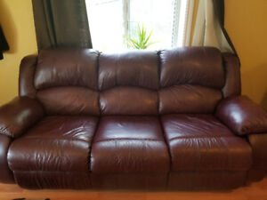 Leather recliner 3 person couch + single recliner!