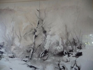 "Winter Abstract W/C by John Bennett RCA, OSA, ""Hint of Spring"" Stratford Kitchener Area image 10"