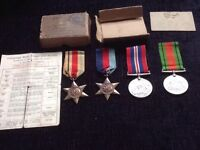 Complete set of four word war 2 medals