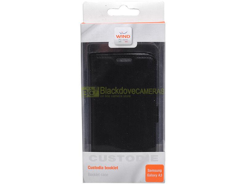Cover Booklet Slim per Samsung A3 - Black. Wind. Custodia per Samsung A3.