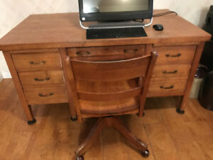Vintage solid oak teacher's desk and swivel chair