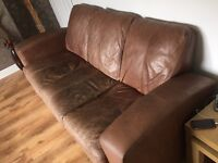 Light tan genuine brown leather suite set(2 and 3 seater)
