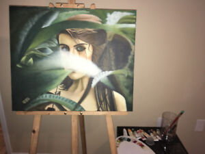 "An Original oil painting ""Jungle Girl"""