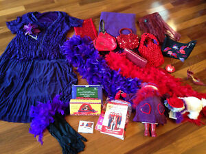 Red Hat apparel, clothes, scarves, purses, tea pot & lunch plate