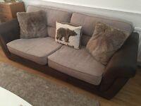 Brown fabric large 2 seater sofa