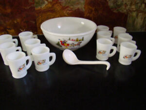 Tom and Jerry milk glass punch bowl with 12 cups