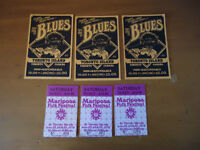 Mariposa Folf Festival and Olympic Festival Blues Ticket stubs