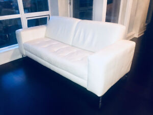 White Leather Sofa and Matching Chair
