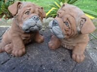 2 Matching Realistic Large Chunky Bulldog Pups Dog Stone Garden Statues