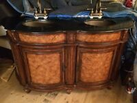 Solid Wood granite double sink with faucets