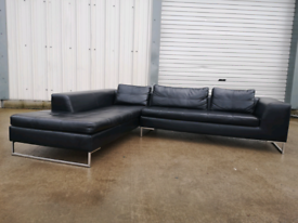 Black dwell leather corner sofa couch suite 🚚🚚