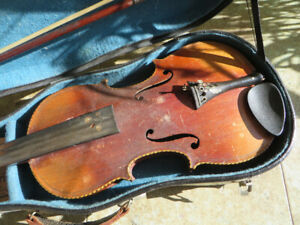 Violin w/ rope purfling and shell inlays w/bow, case.