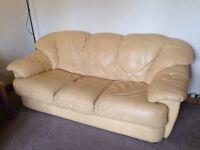 2 Sofas x 3 Seater Cream Leather Set