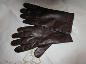 Ladies genuin Leather Gloves-Brown Linin-100% Cashmere-New mediu