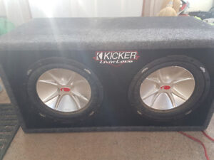 """2 10"""" kicker subs in box+ single Din deck +wires"""