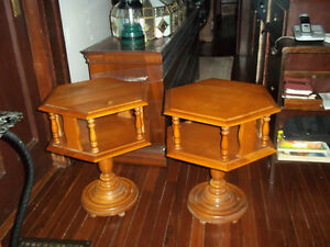 Solid wood pair of end tables