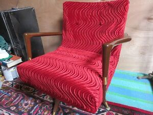 1950'S FANCY RED SWIFLE CHAIR RECOVERD GREAT CONDITION
