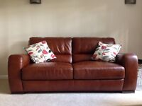 SCS leather 2 seater and 3 seater sofa with 5 year warranty for sale