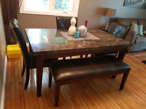 Dining Room Table, 4 Chairs, and Bench
