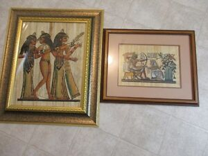 lot of two Egyptian paintings hand done Papyrus vintage