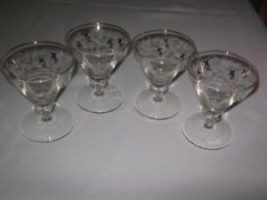 ETCHED and GOLD TRIMMED  FANCY MARTINI GLASSES.SET OF 4
