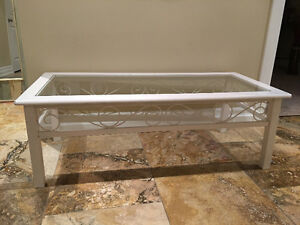 White coffee table - glass metal wood combination