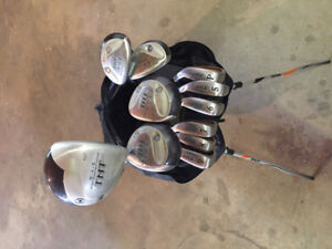 TNT golf clubs and Ping bag