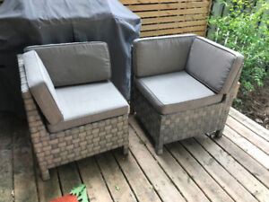 Modern grey condo sized patio loveseat/chairs with cushions