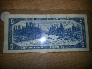 1954 5$ bill in good condition for its age only 19$............. London Ontario image 2