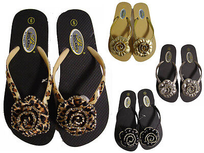 Silver Black Gold Leopard Flower Floral Rhinestone Flip Flops Thongs (Rhinestone Silver Sandal)