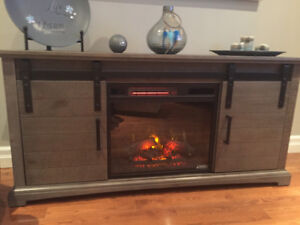 Barn wood electric fireplace stand