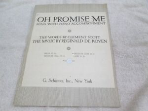 Vintage Piano Sheet Music - O Promise Me - 1917